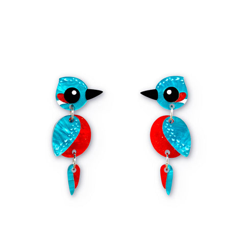 Acrylic Kingfisher Earrings - Handmade bird earrings