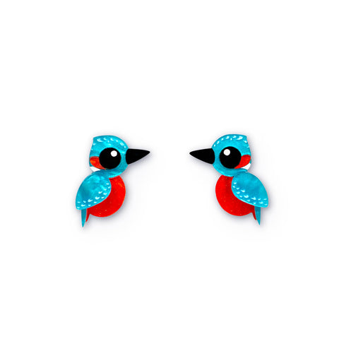 Acrylic River Kingfisher Studs - Statement Bird Earrings