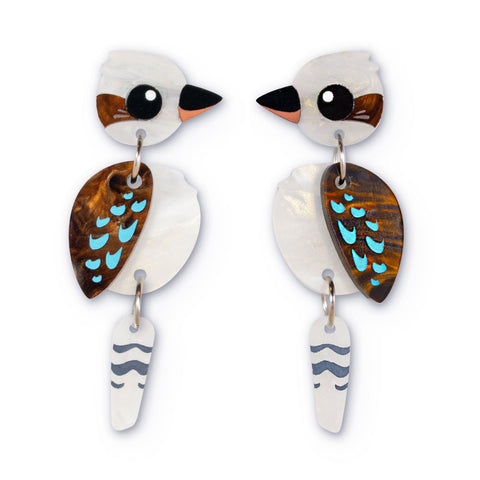 Acrylic kookaburra earrings Australiana handmade
