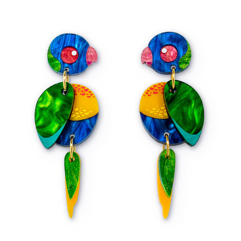 Acrylic Rainbow Lorikeet 2.0 Earrings Handmade Australiana