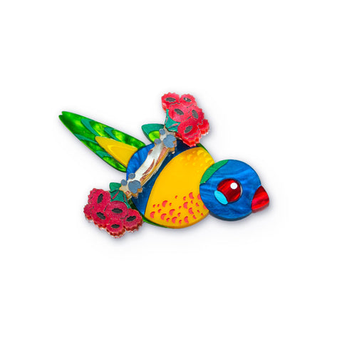 Rainbow Lorikeet Mini Brooch Acrylic