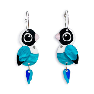 Acrylic Blue Masked Lovebird Earrings