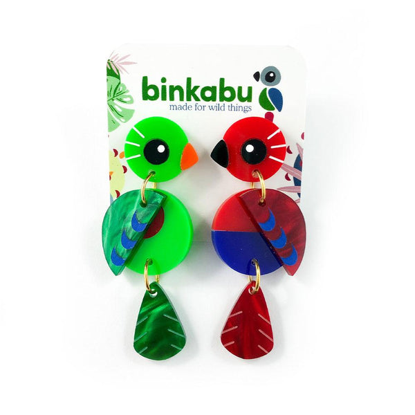 Acrylic Eclectus Parrot Earrings