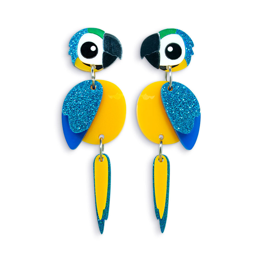 Acrylic Blue and Gold Macaw Earrings - Statement Bird Earrings