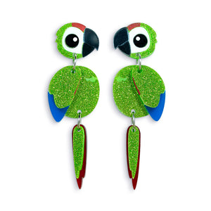 Acrylic Green Macaw Earrings