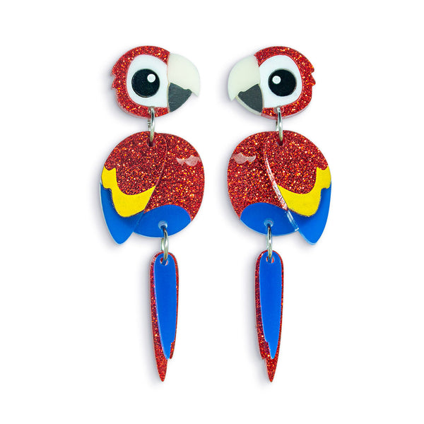 Acrylic Scarlet Macaw Earrings
