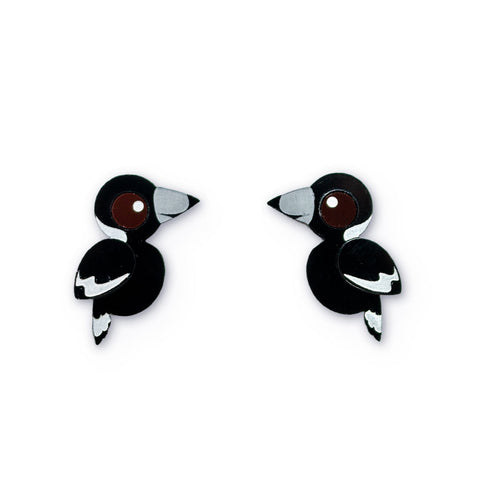 Acrylic Magpie Earrings handmade Australiana
