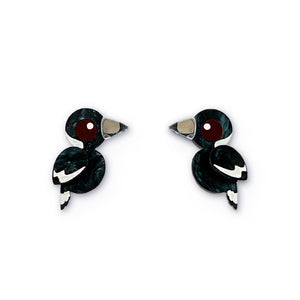 Acrylic magpie stud earrings handmade Australiana