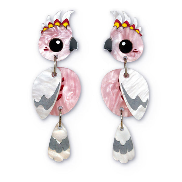 Acrylic Major Mitchell Cockatoo Earrings handmade
