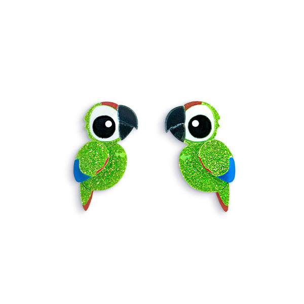 Military Green Macaw Stud Earrings