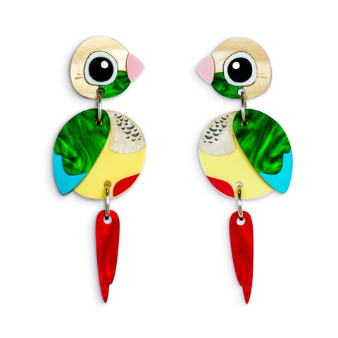 Pineapple Conure Earrings Acrylic Parrot Earrings