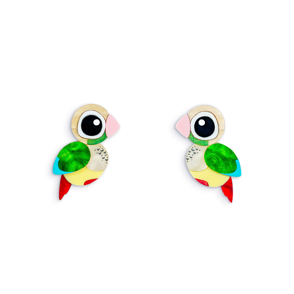 Acrylic Pineapple Conure Earrings Handmade Parrot Earrings