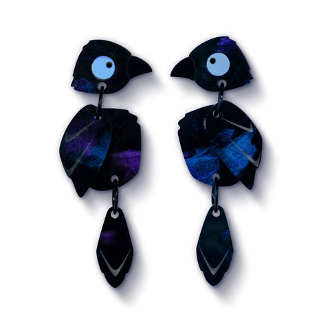 Acrylic Raven Earrings