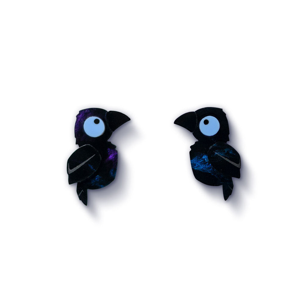 Acrylic Raven Stud Earrings