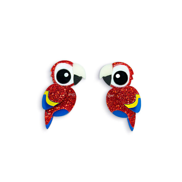 Acrylic Scarlet Macaw Stud Earrings