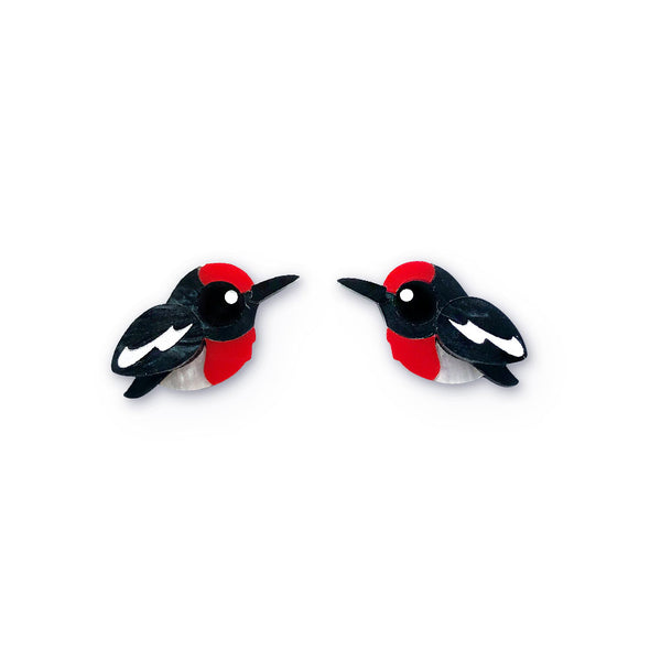 Red-capped robin earrings