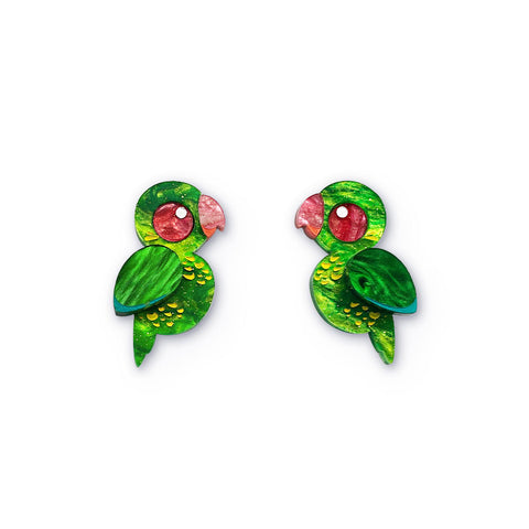 Scaly-breasted lorikeet acrylic earrings