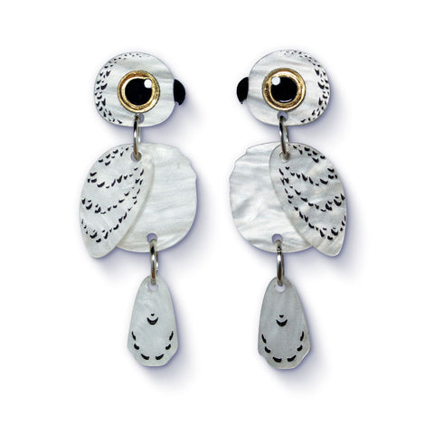 Acrylic Snowy Owl Earrings