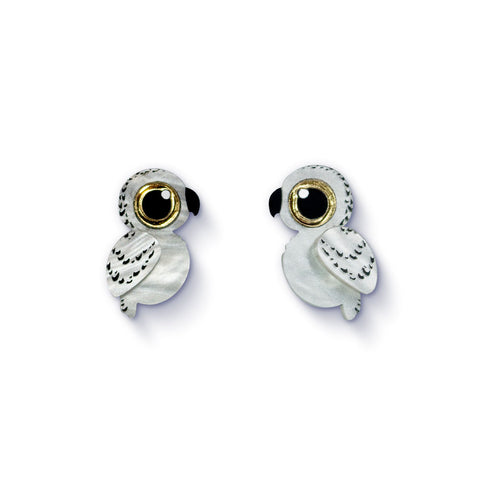 Acrylic Snowy Owl Stud Earrings