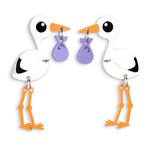 Acrylic Stork Earrings Motherhood Gifts