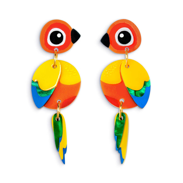 Sun Conure Acrylic Parrot Earrings