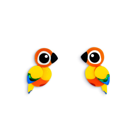 Acrylic Sun Conure Stud Earrings Handmade Parrot Earrings