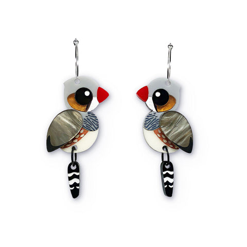 Zebra Finch hoop earrings