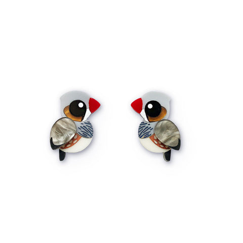 Zebra Finch stud earrings