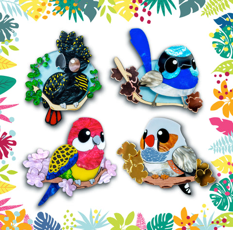 binkabu handmade australiana bird brooches