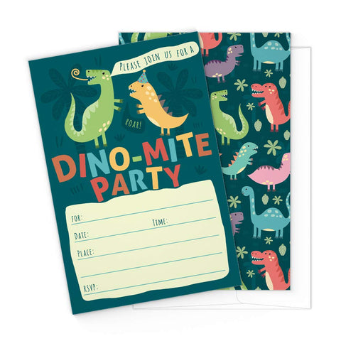 Dinosaur Kids Party Invitation Cards