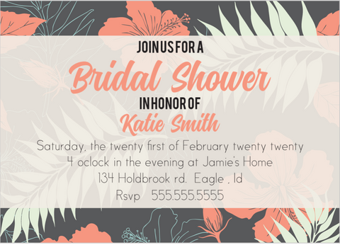 HAWAIIAN TROPIC BRIDAL SHOWER INVITATIONS