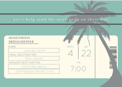 HONEYMOON TICKET BRIDAL SHOWER INVITATIONS