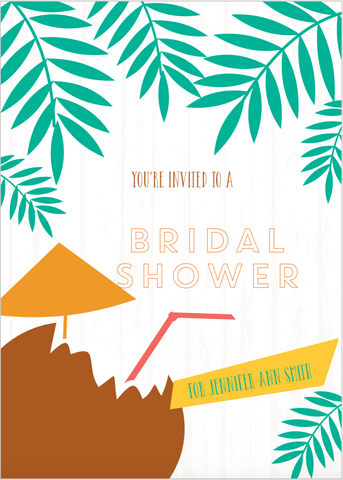 TROPICAL DRINK BRIDAL SHOWER INVITATIONS