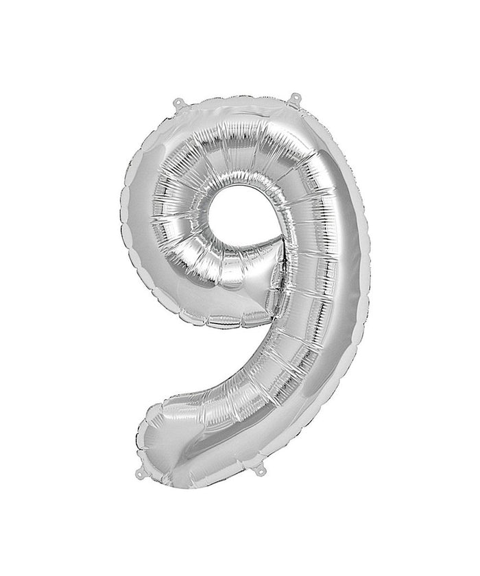 16in Silver Number Balloon (9)