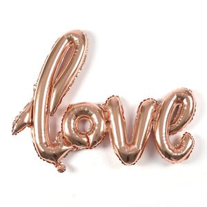 "A giant rose gold letter balloon of ""LOVE"". perfect for engagement, bridal shower, wedding and birthday theme. romantic party decoration"