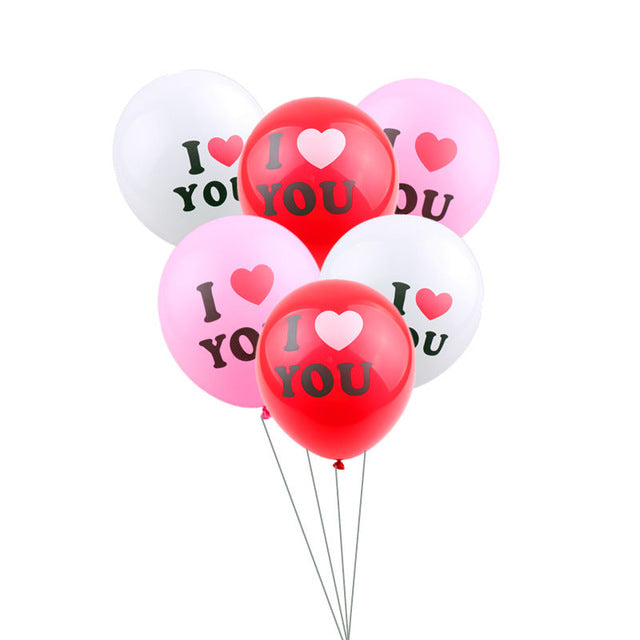 "12'' ""I LOVE U"" BALLOONS (PACK OF 10) 3 COLORS"