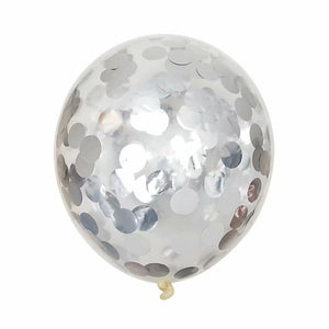 A silver confetti balloon with metallic shine. perfect for weddings decoration, girl's party and birthday party.