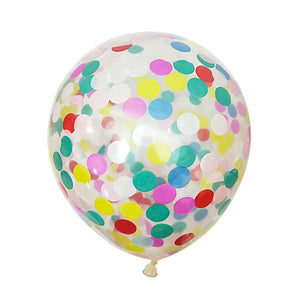 A multi-color confetti balloon with metallic shine. perfect for weddings decoration, girl's party and birthday party.