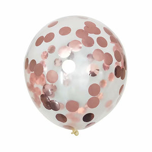 A Rose gold confetti balloon with metallic shine. perfect for weddings decoration, girl's party and birthday party.