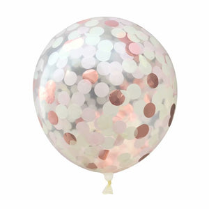 A mix-color confetti balloon with metallic shine. perfect for weddings decoration, girl's party and birthday party.