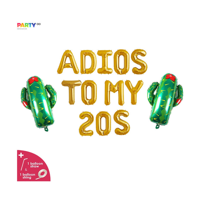 "30th Birthday Party Decor | ""Adios To My 20s"" Balloon Banner 