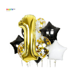 Black/White/Gold balloon bouquet | 1st Birthday Party Decor