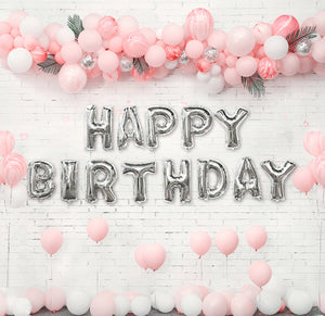 Silver Happy Birthday with Pink Balloon Garlands Kit