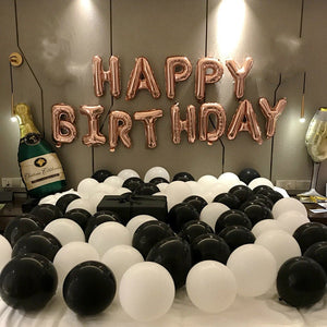 Rose Gold Happy Birthday Decoration With Champagne Balloon Set