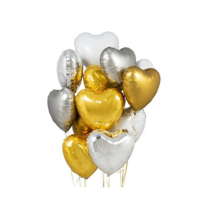 Gold and Silver Balloon Bouquet | Heart Balloons Flower Bouquet White Gold Silver Balloons 18'' | Gold and Silver Heart Balloons