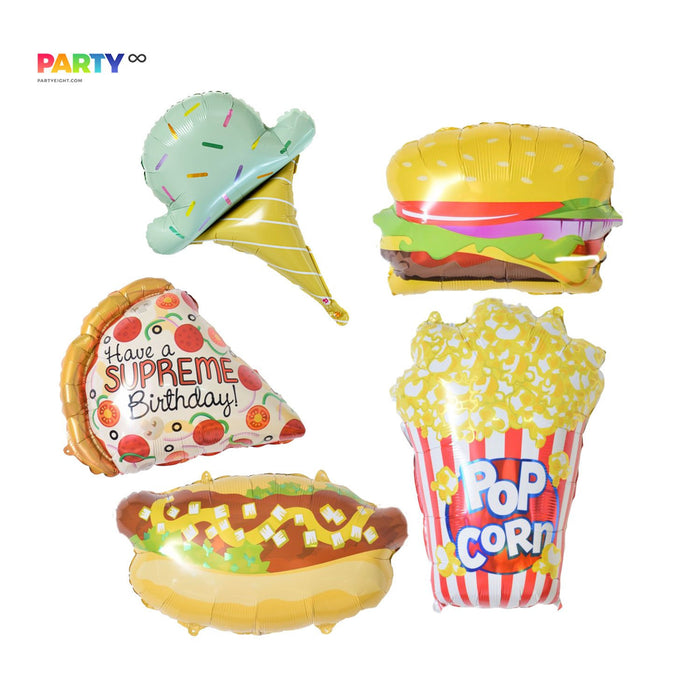 Foodie Favors | FOODIE PARTY TIME Balloon | hamburger/Icecream/hot dog/popcorn/pizza balloon | Kids birthday party decor