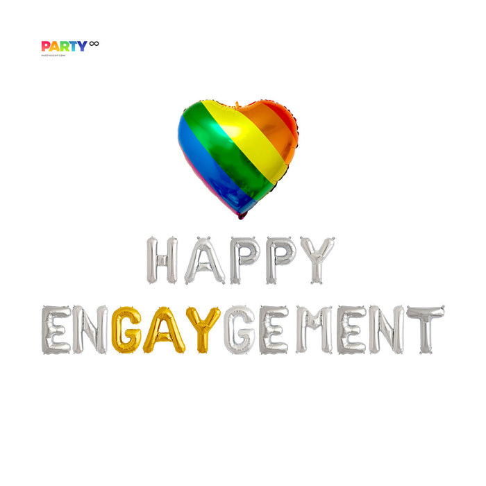 Happy Engaygement Balloon Banner | Gay Engagement Party Decoration | Parade Pride Balloon | Gay Pride Banner | Gay Pride Party Decorations