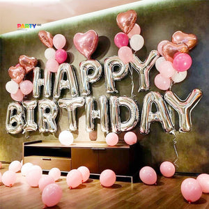 Silver Happy Birthday Decoration with Pink Balloon Bouquet