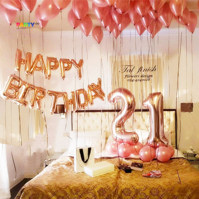 Rose Gold 21st Birthday Balloon Set