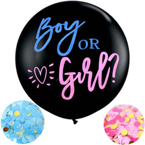 "Gender Reveal Party Balloon | Boy or Girl Gender Reveal Balloon Confetti Balloon | 36"" Jumbo Round Black Balloon 